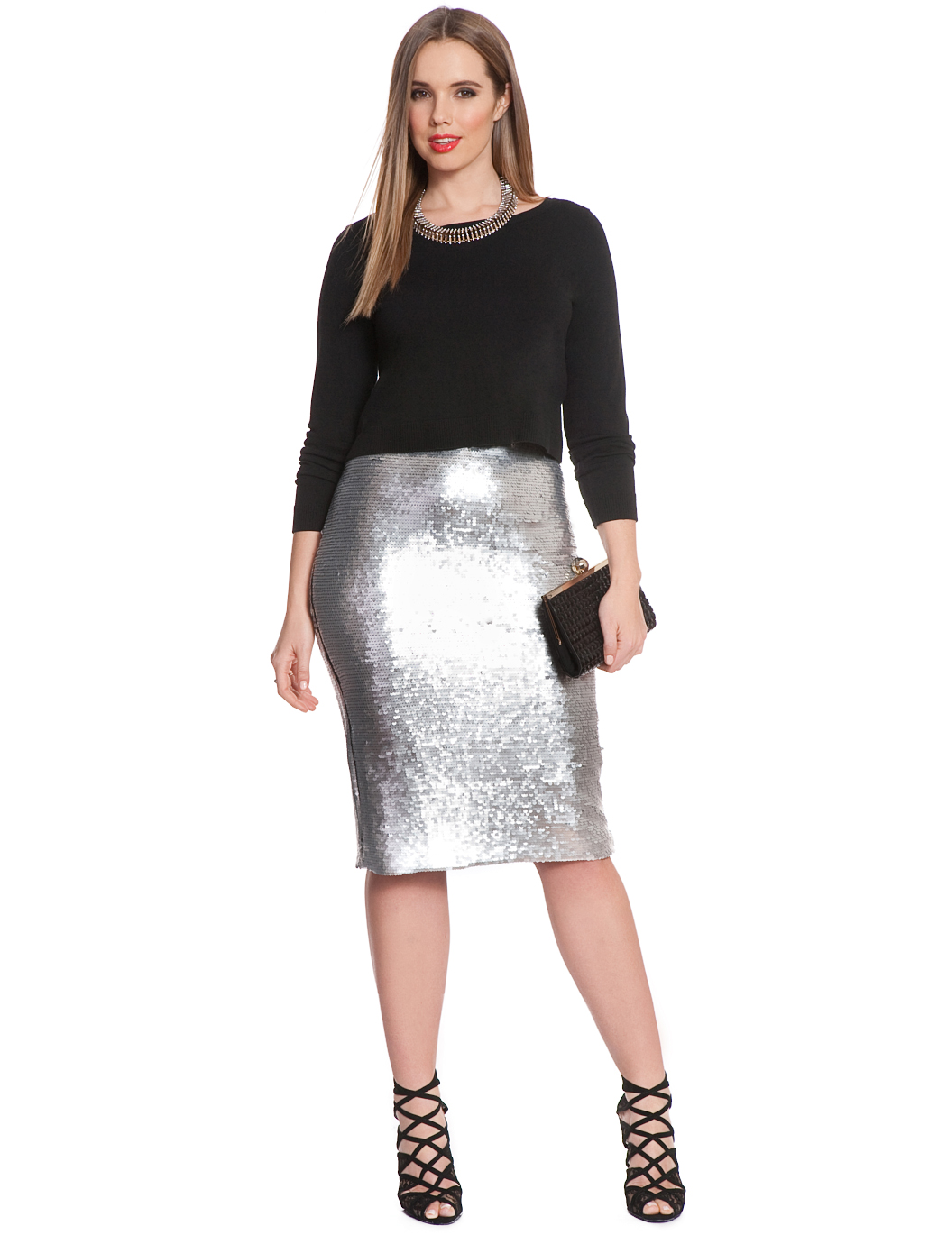 Studio Sequin Pencil Midi Skirt | Women's Plus Size Skirts | ELOQUII