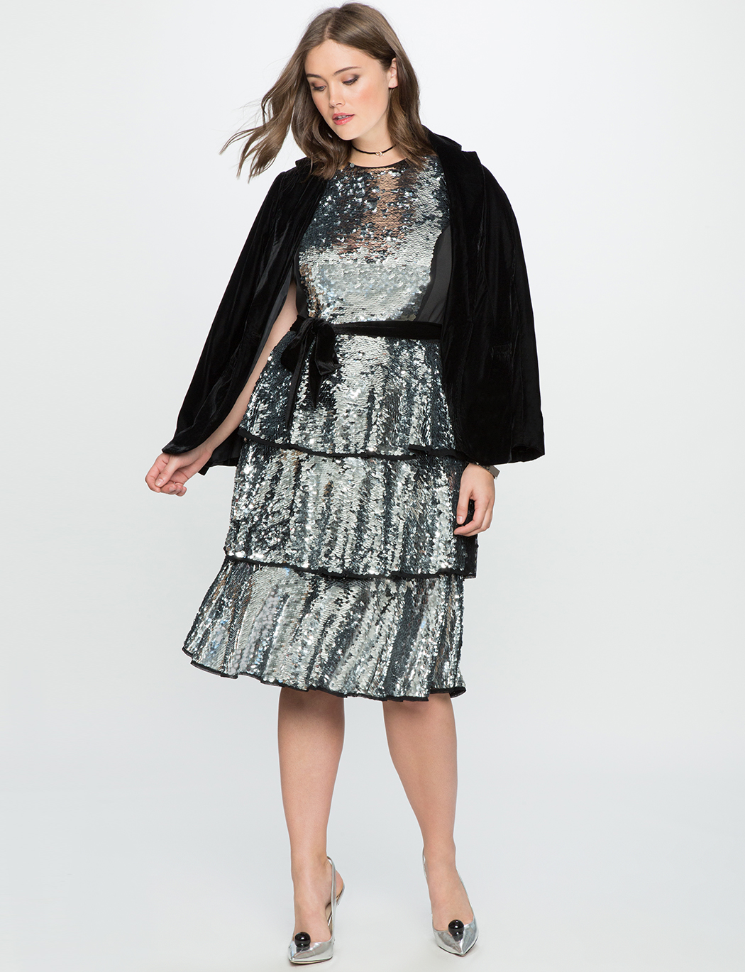 Sequin Layered Tea Dress