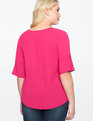 V-Neck Top with Button Sleeve Detail CERISE