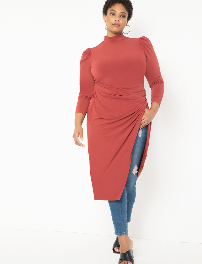 T-Neck With Wrap Skirt Dress