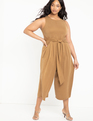 Cropped Jumpsuit with Belt Raw Umber