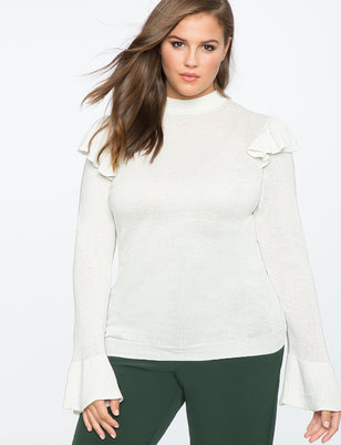 Ruffle Shoulder Sweater