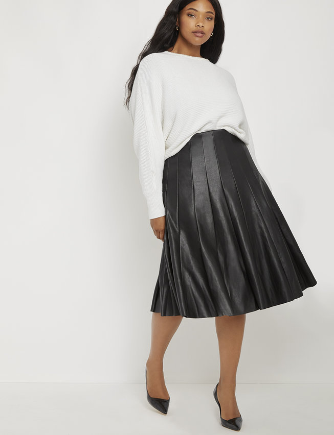 studio faux leather pleated skirt s plus size
