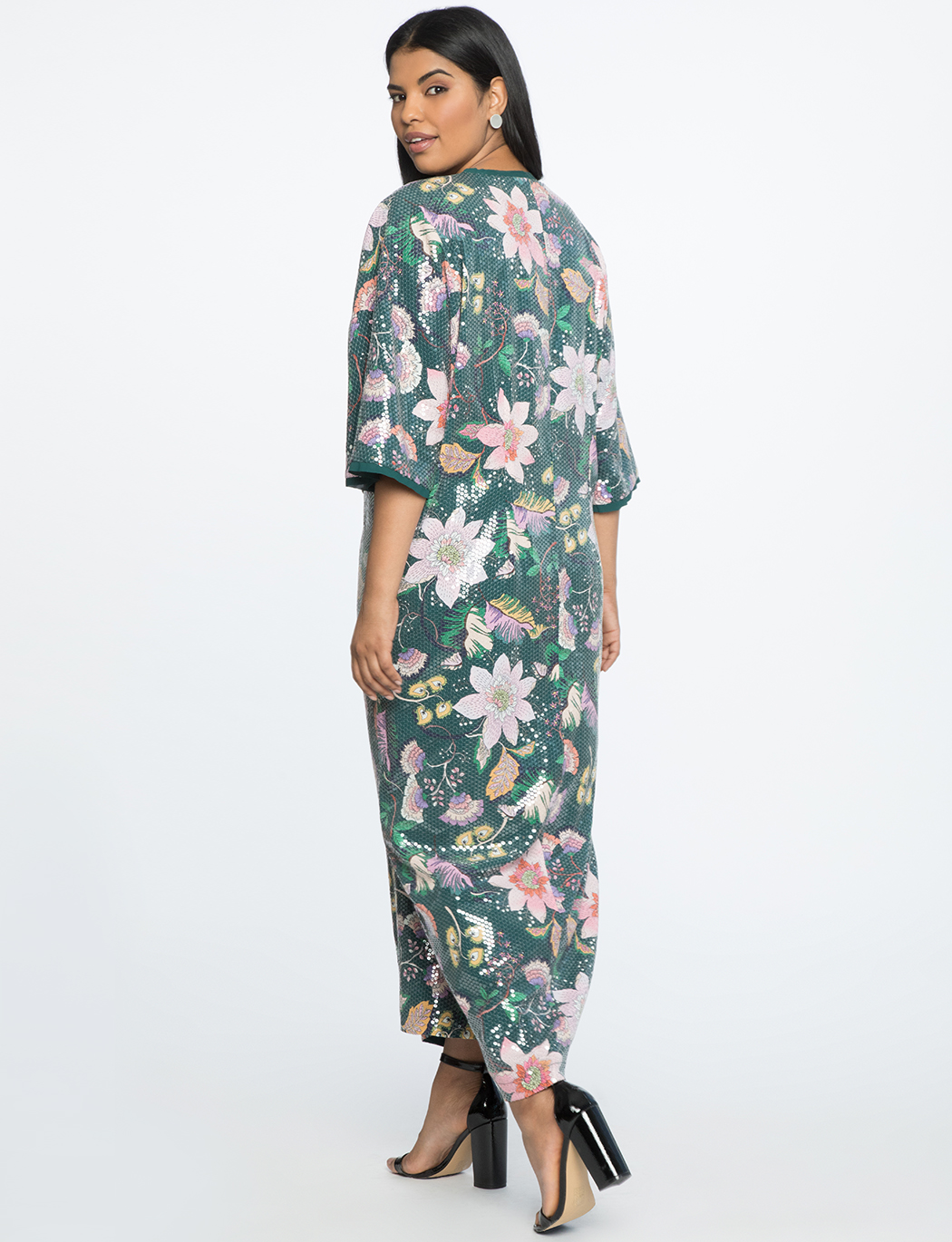 Slit Front Printed Sequin Maxi Dress