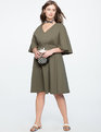 Button Detail Cape Dress ANTIQUE OLIVE