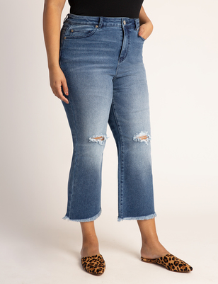 Distressed Ankle Flare Jean