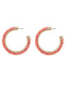 Glitter Hoop Earrings Coral + Gold