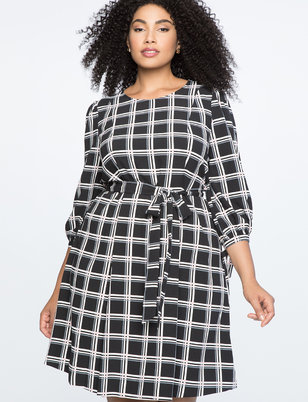 Tied Puff Sleeve Fit & Flare Dress