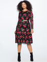 Lace Trumpet Dress  BLACK WITH FLORAL EMBROIDERY