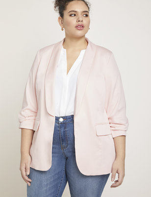 Essential Soft Blazer with Gathered Sleeve
