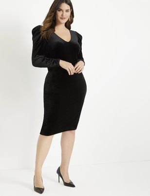 Velvet Puff Sleeve Dress