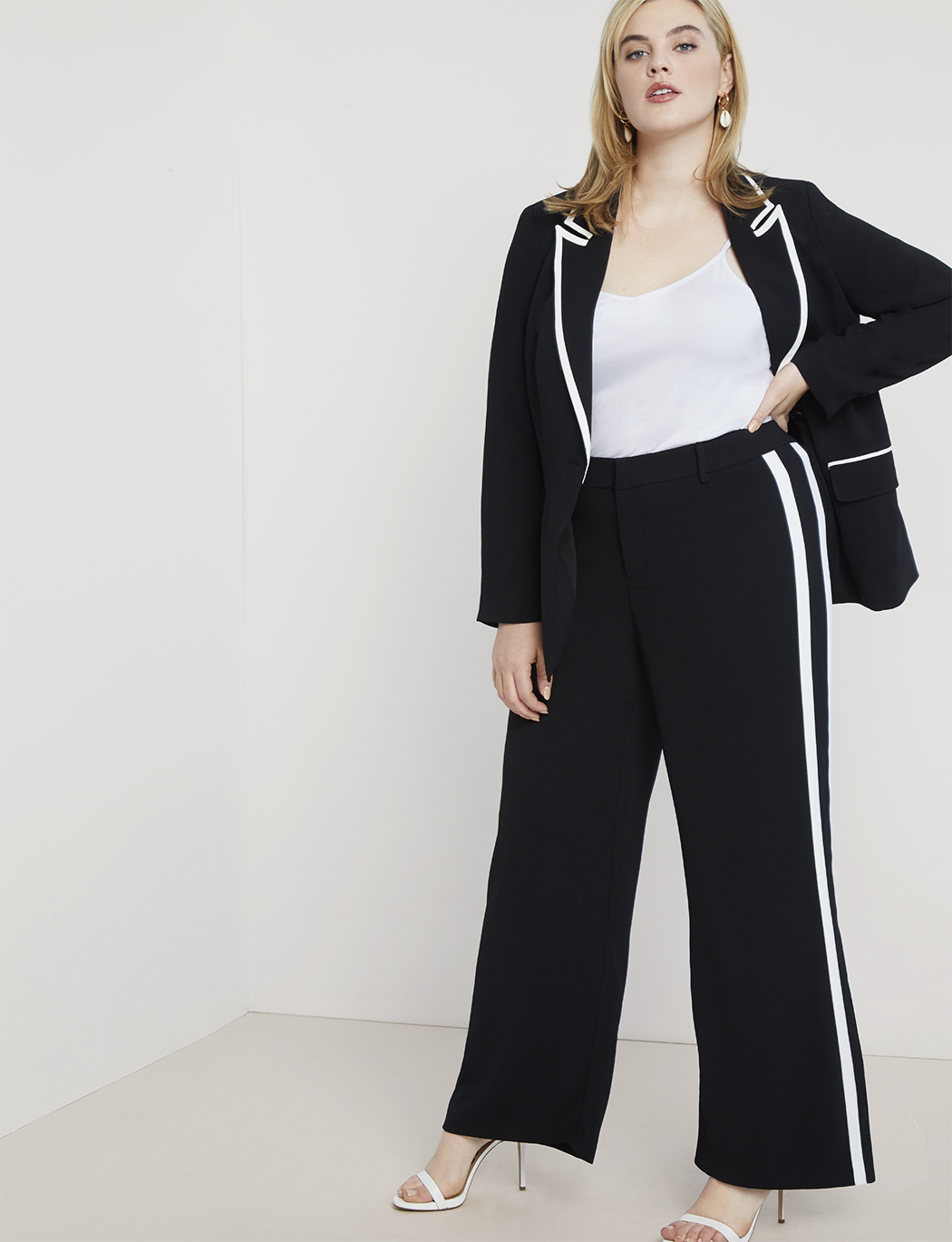 Wide Leg Trouser with Contrast Trim