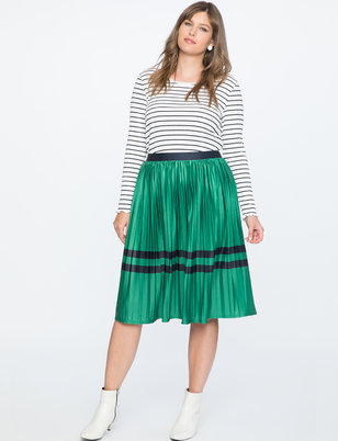Sunburst Pleated Midi Skirt With Block Stripes