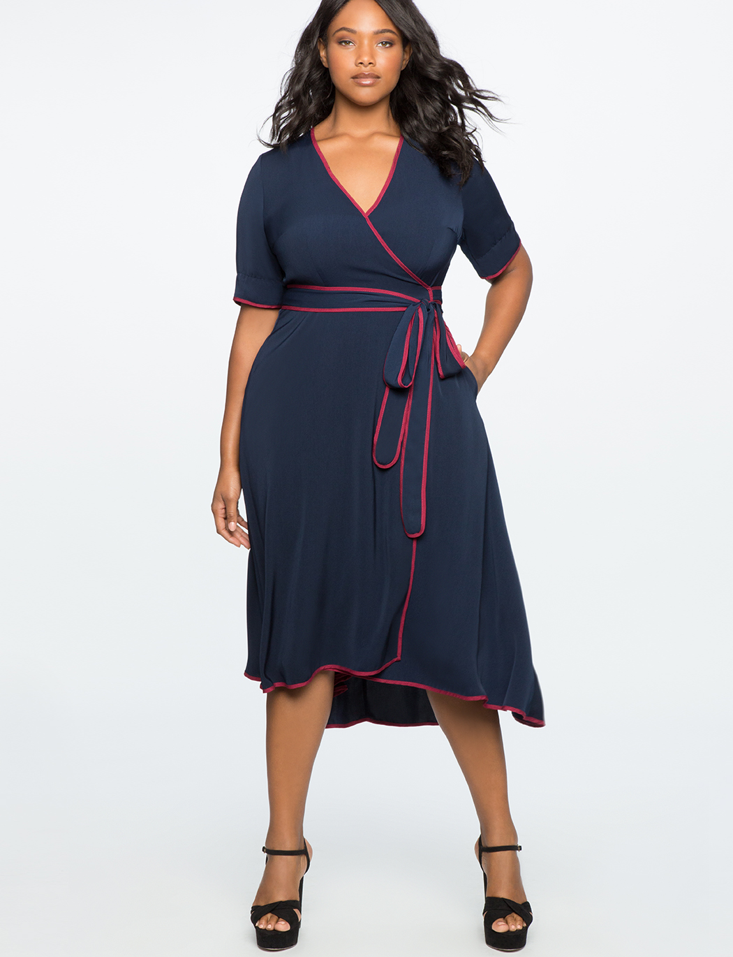 True Wrap Dress with Piping Detail