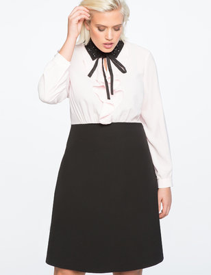 Embellished Collar Shirt Dress