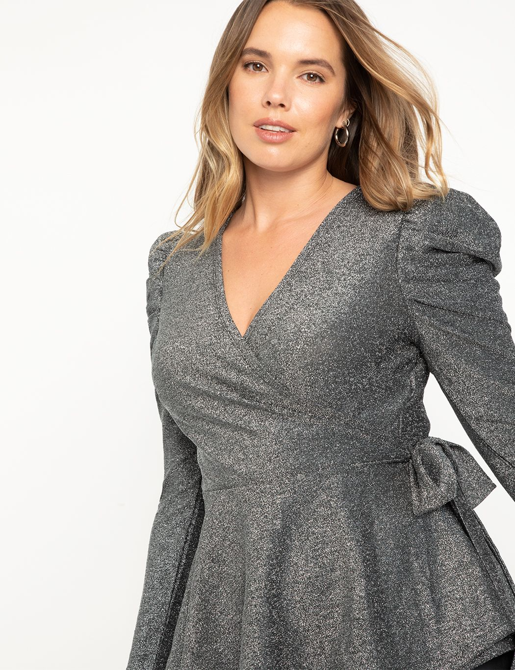 Wrap Top with Draped Sleeve