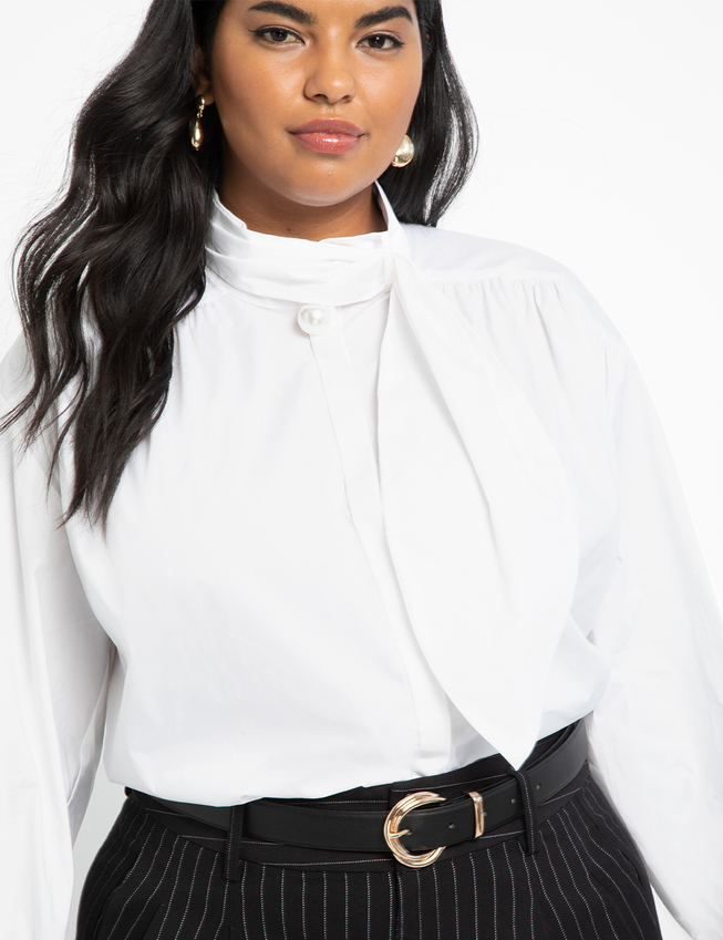 Pearl Tie Neck Blouse