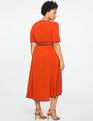 True Wrap Dress with Piping Detail FIRE CORAL + INDIGO