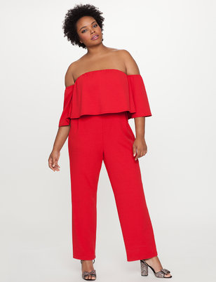 Off the Shoulder Ruffle Overlay Jumpsuit