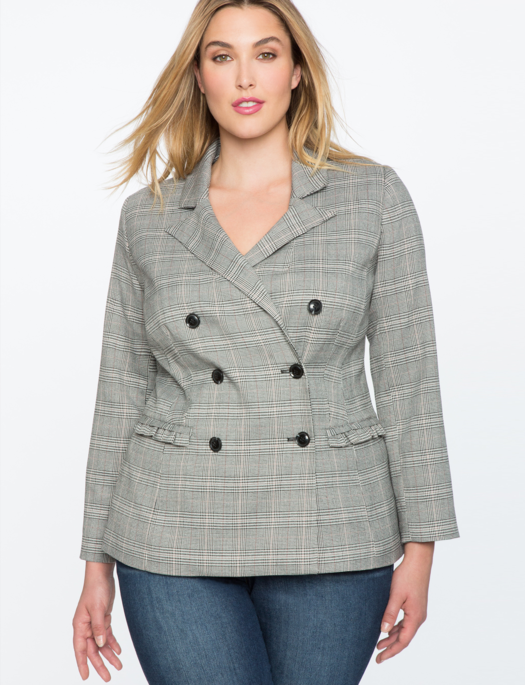 Ruffle Trim Double Breasted Blazer