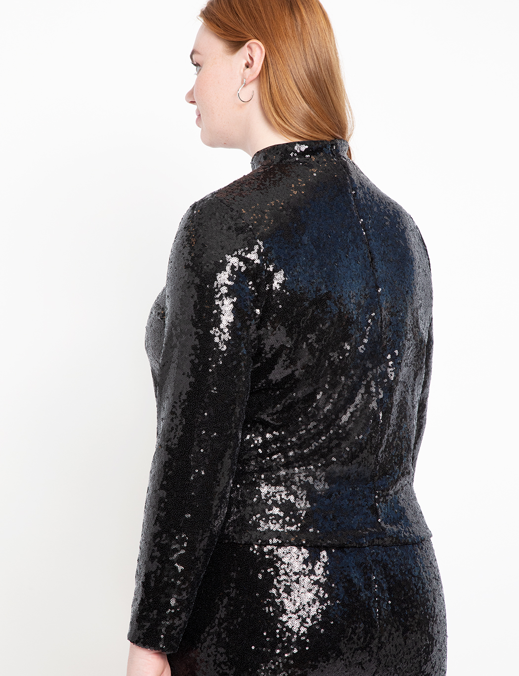Cropped Sequin Turtleneck
