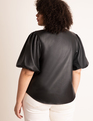 Faux Leather Puff Sleeve Top Totally Black