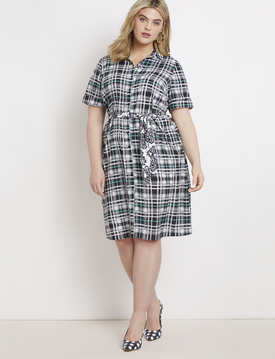 Printed Shirtdress with Tie Waist