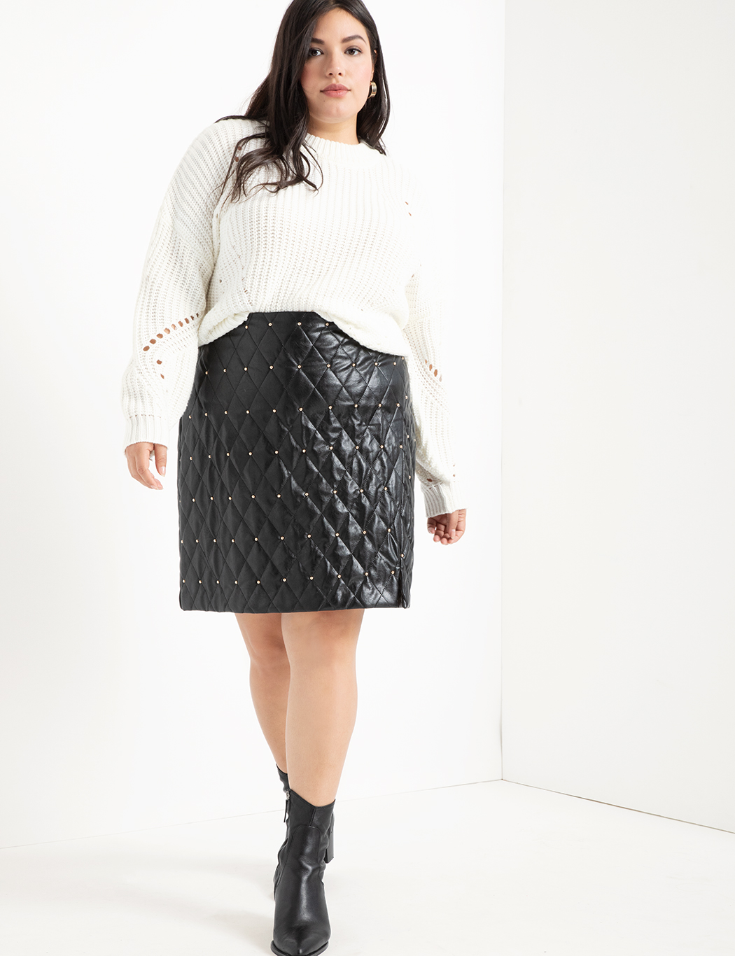 20c0d1ebef Quilted Faux Leather Skirt With Studs | Women's Plus Size Skirts ...