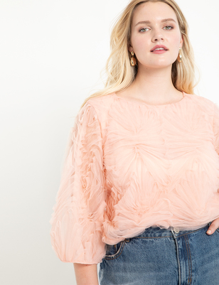 Puff Sleeve Tulle Top