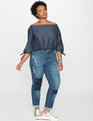 Off The Shoulder Tunic Top Dark Wash