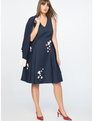 Draper James for ELOQUII Floral Embellished Fit and Flare Dress Peacoat