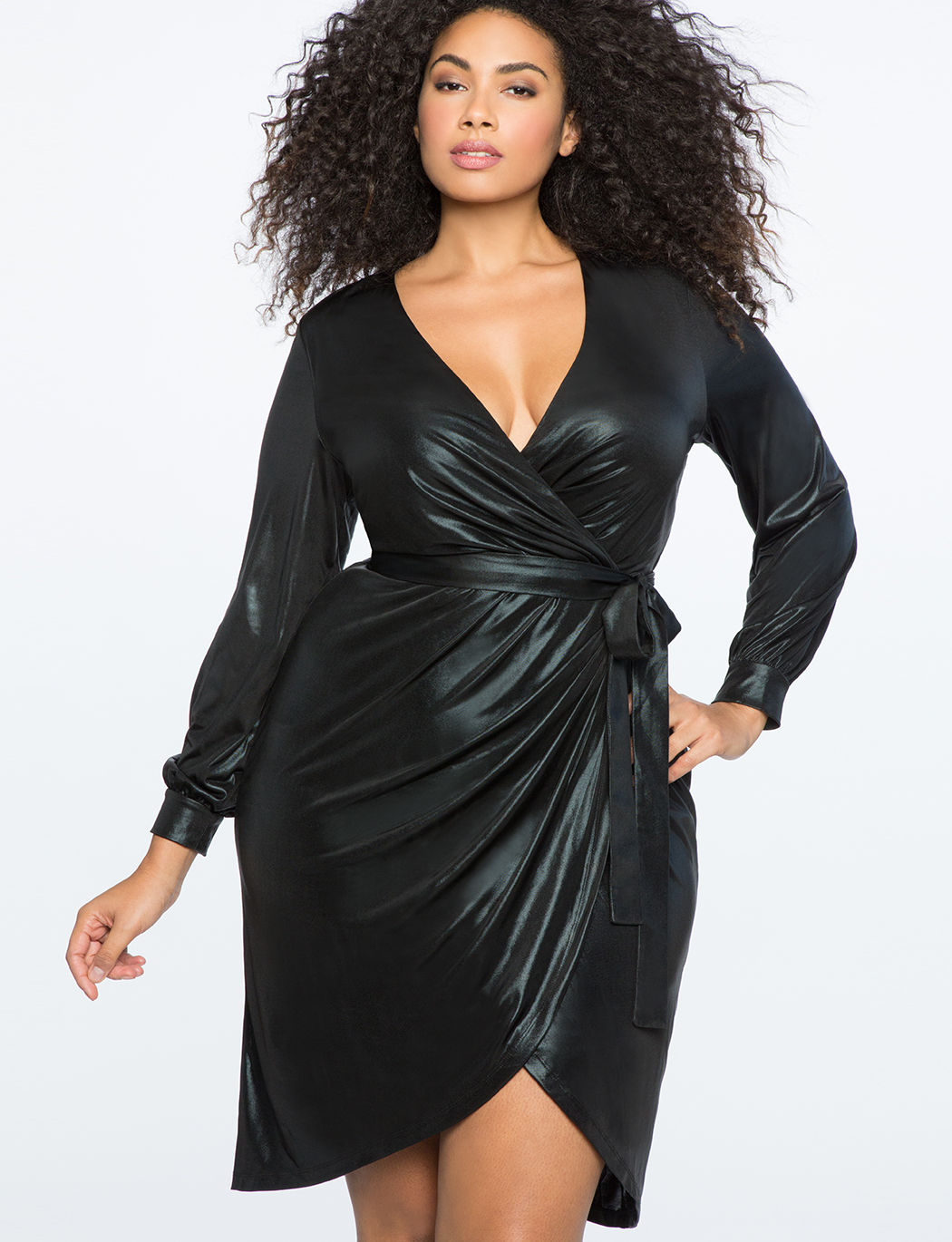 Metallic Knit Wrap Dress | Women\'s Plus Size Dresses | ELOQUII