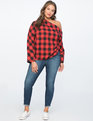 One Shoulder Plaid Top Red + Black Check