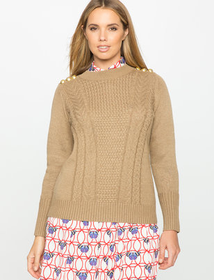 Button Shoulder Stitched Sweater