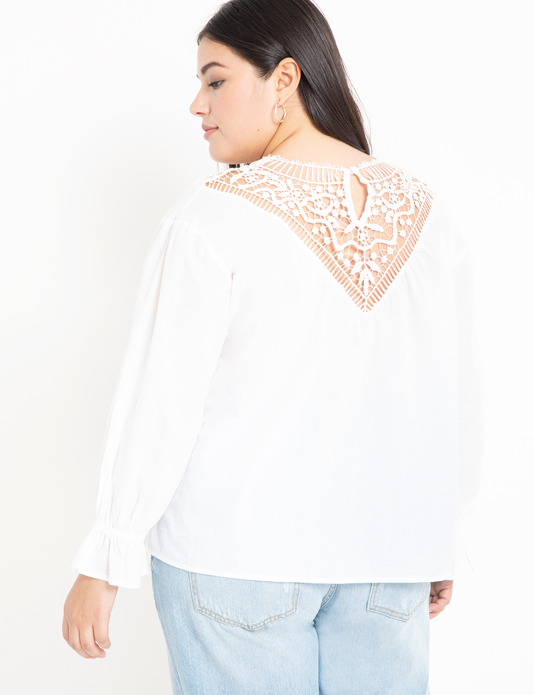 Lace Yoke Blouse with Puff Sleeve