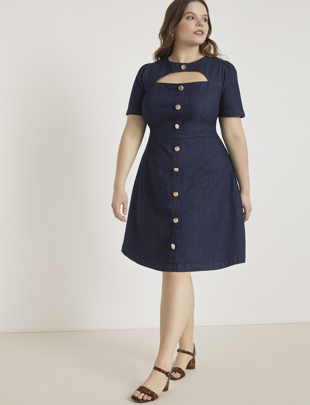 Cutout Button Front Denim Dress | Women\'s Plus Size Dresses | ELOQUII