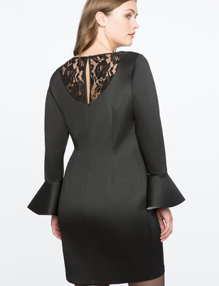 Flare Sleeve Dress with Lace Back Detail
