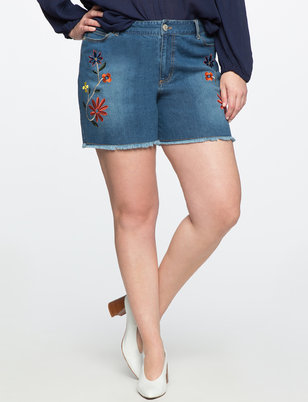 Studio Embroidered Jean Shorts