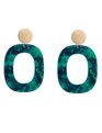 Resin Hooped Post Earrings Green + Gold
