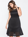 Laser Cut Fit and Flare Dress Black