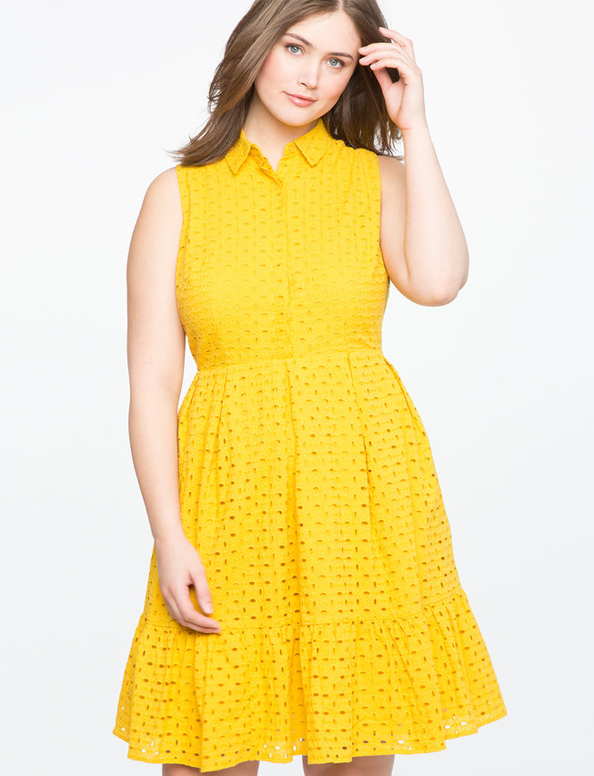 Collared Eyelet Fit and Flare Dress