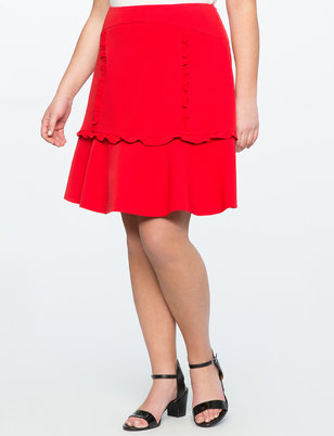 A Line Skirt with Ruffle Detail