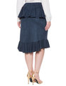 Studio Faux Suede Ruffled Skirt Deep Seas