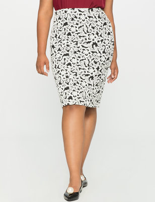 Floral Knit Pencil Skirt