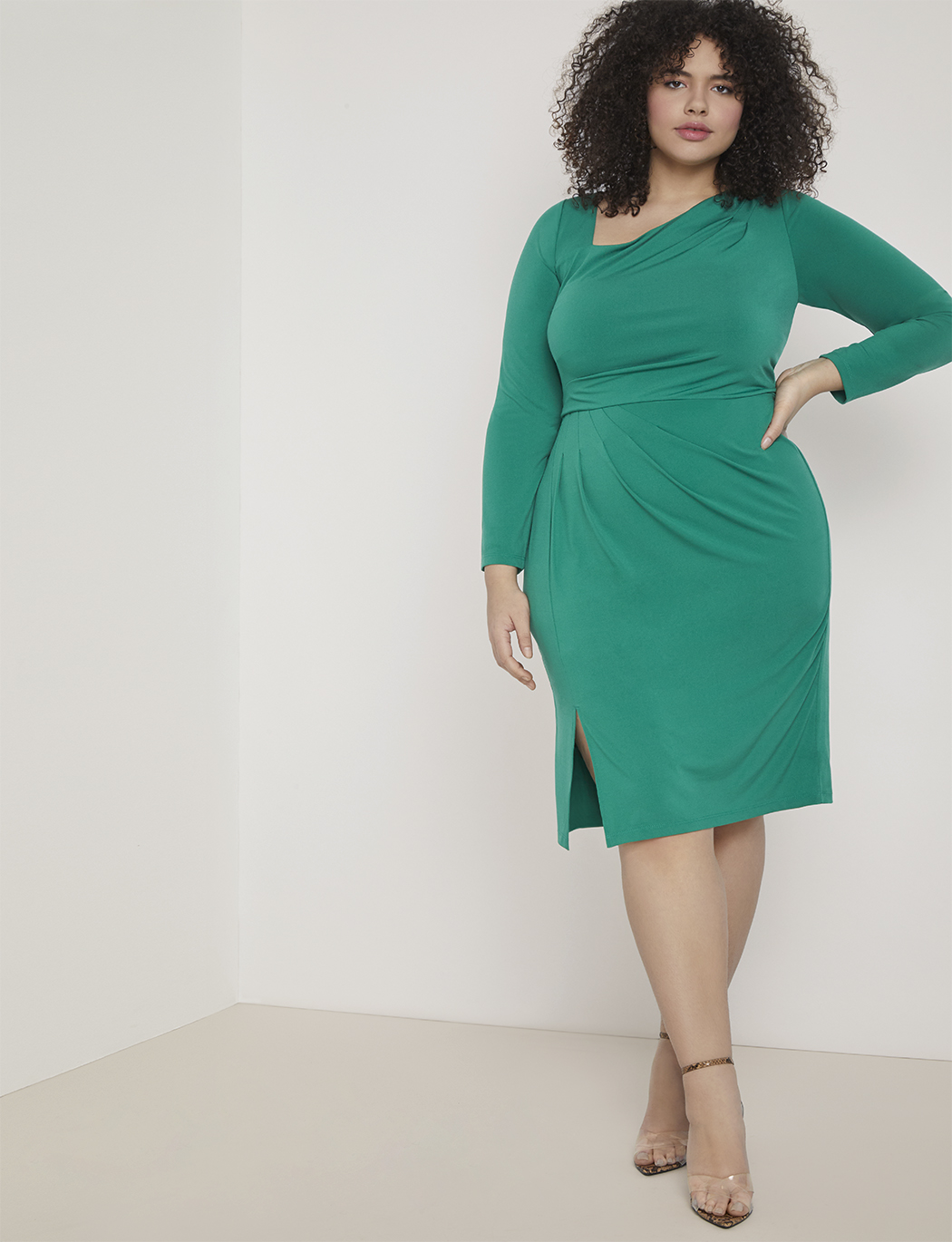 Draped Front Long Sleeve Sheath Dress