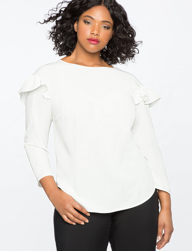 Drop Shoulder Ruffle Sleeve Top