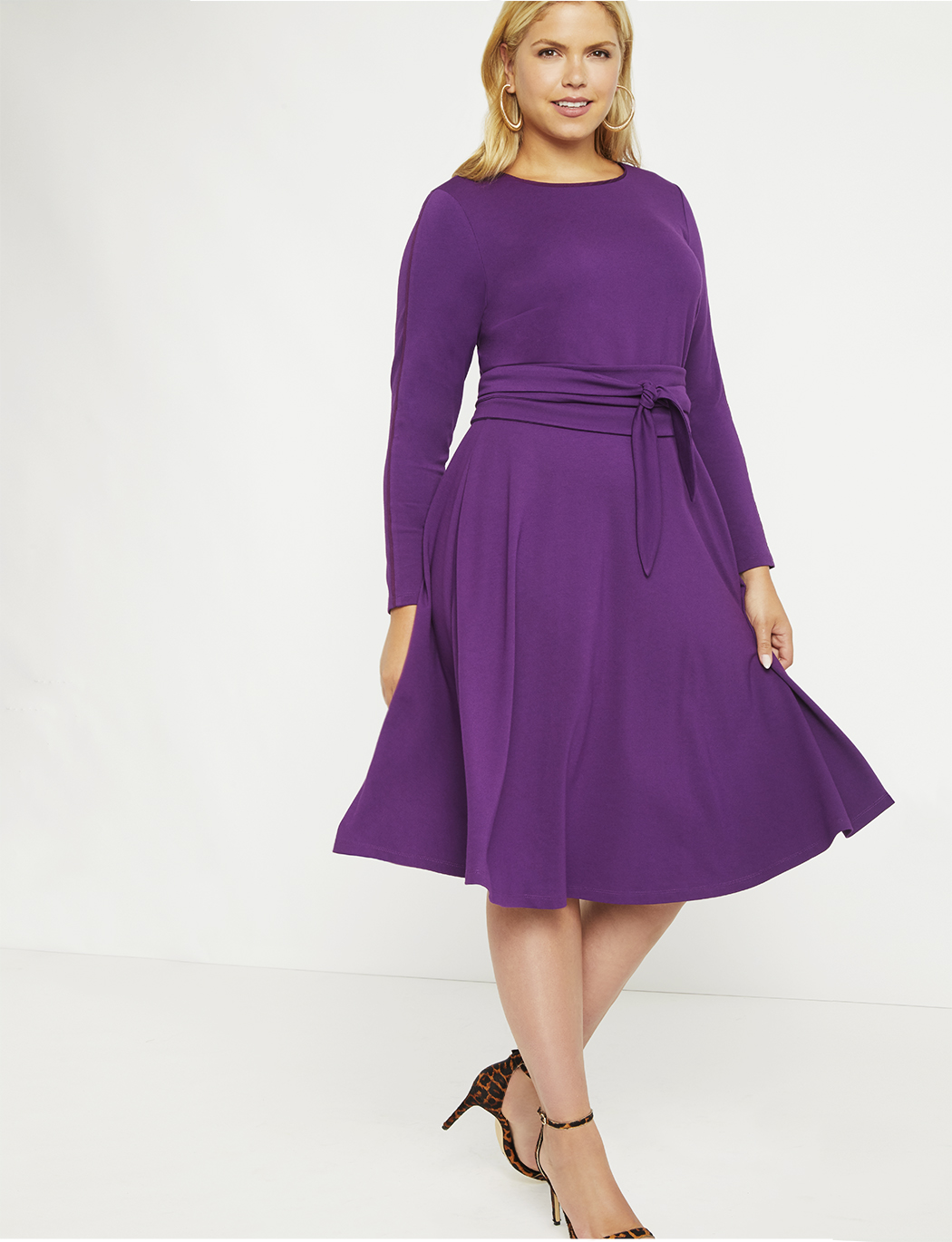 Long Sleeve Fit and Flare Dress | Women\'s Plus Size Dresses | ELOQUII