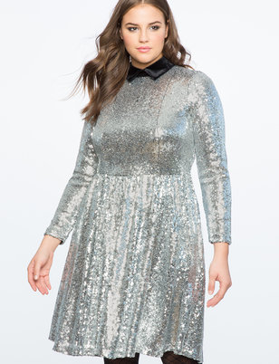 Sequin Fit and Flare Dress with Velvet Collar
