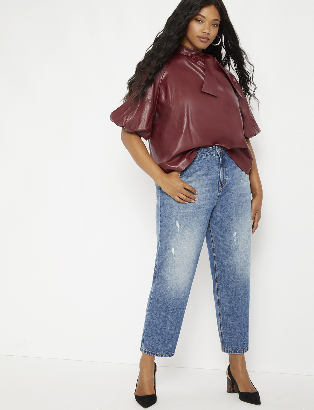 Bow Blouse with Raglan Puff Sleeve