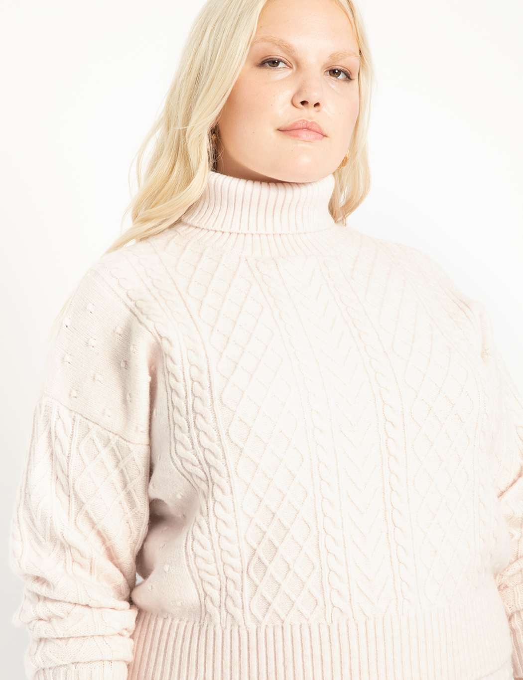 Crop Turtleneck Cable Sweater